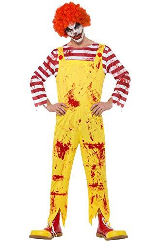Smiffy's Mens Ronald McDonald Kreepy Killer Clown Halloween Fancy Dress Costume XL ()