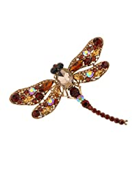 Fashion Dragonfly Crystal Wedding Bridal Alloy Pin Brooch Champagne Jewelry