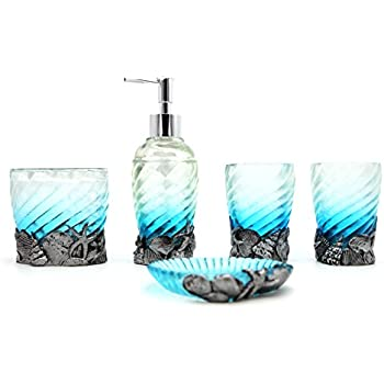 Attrayant Hot San Resin 5 Pieces Bathroom Accessory Set   Gradient Ocean And Seashell  Ensemble,Bathroom