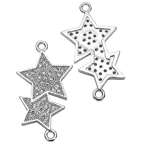 1pc Top Quality Silver Star Charm Connector Simulated Diamond Pendant MCAC45 Diamond Cut Animal Charm