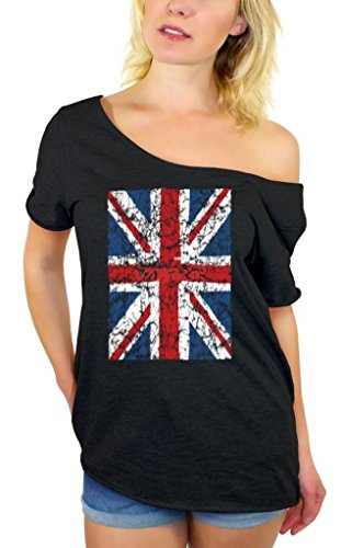 Awkwardstyles Women's Union Jack Flag Off Shoulder Tops T-shirt + Bookmark S Black