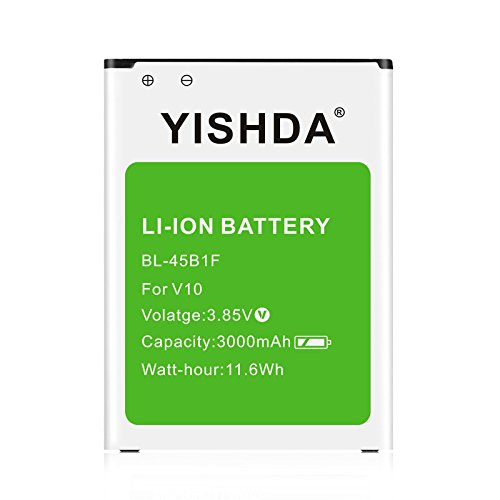 LG V10 Battery YISHDA 3000mAh Replacement BL-45B1F Battery for LG V10 H901 T-Mobile, H900 AT&T, VS990 Verizon, H960A, LS992 Sprint | LG V10 Spare Battery [18 Month Warranty]