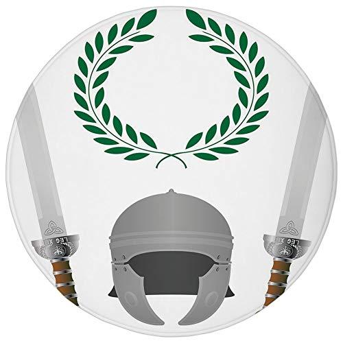 Round Rug Mat Carpet,Toga Party,Roman Glory Heritage Knight Fourth Variant Shield Legend Illustration Decorative,Grey Hunter Green,Flannel Microfiber Non-slip Soft Absorbent,for Kitchen Floor Bathroom -