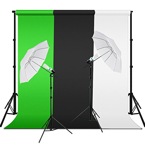Lusana Studio Backdrop and Umbrella Lighting Kit with Background Support System Stand, Green/White/Black Muslin, 86'' Light Stand with CFL Photo Bulb, Socket, and White Umbrella Reflector, LNA1050 by Lusana Studio