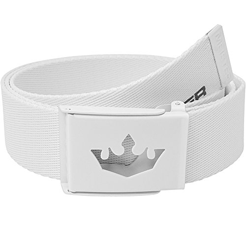 Meister Player Golf Web Belt - Adjustable & Reversible - White