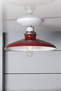 Red Metal Shade Ceiling Light - Red & White