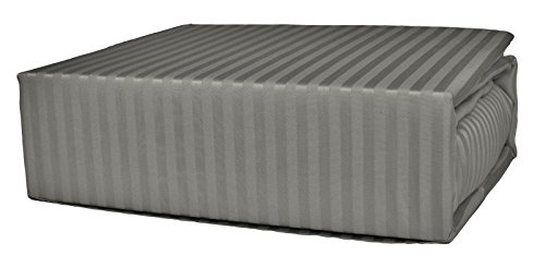 Brielle 630 Thread Count Egyptian Cotton Sateen Premium 600 Plus Duvet Cover, King, Linen Grey Stripe