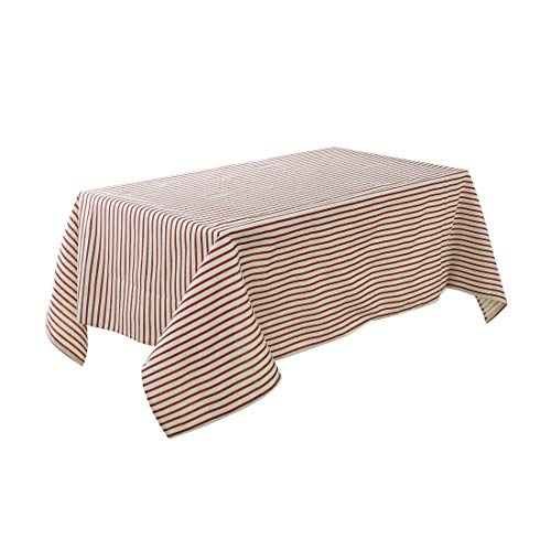 """uxcell Seamless Washable Cotton Blends Rectangular Tablecloth 55"""" x 79"""" Water Oil Stain Resistant Rectangular Table Decoration, Dark Red Strips from uxcell"""