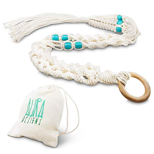 - Macrame Plant Hanger Hanging Planter - Indoor Outdoor Macrame Plant Holder Cotton rope wall hanging with Turquoise Beads 4 Legs 41 Inch