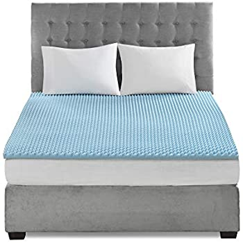 Flexapedic by Sleep Philosophy Gel Memory Foam Mattress Topper Cooling Bed Cover, Queen, Blue