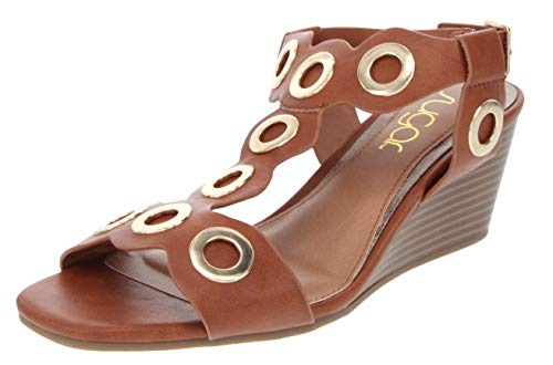Heel Detail High - Sugar Women's Icicle Slingback Wedge Sandal with Large Grommet Detail and Buckle Closure 9 Cognac