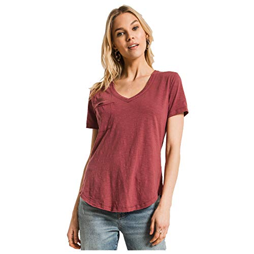 (Z Supply Clothing Women's Airy Slub Pocket T-Shirt, Crushed Berry, X-Small)