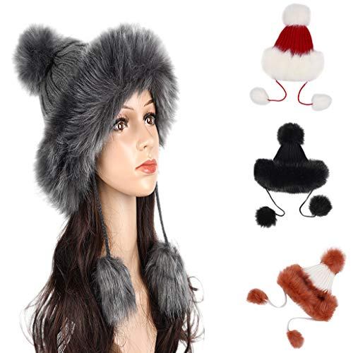 (Nacome Women's Russian Cossack Faux Fur Quilted Hat Winter Fashion Hat with Hairball (Black))