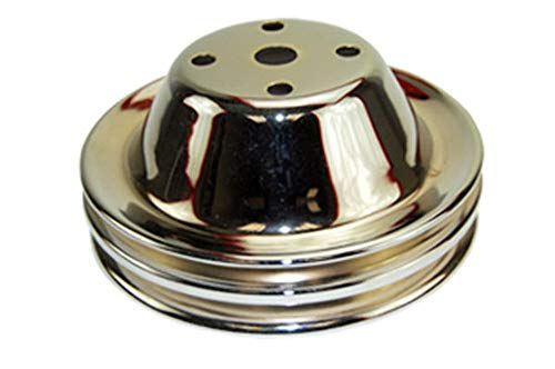 Pirate Mfg SBC Chevy 283-350 Chrome Steel Smooth LWP Double Groove Water Pump Pulley ()