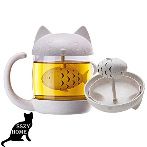 8.5oz Glass Teacup, Cute Cat Tea Cup with Fish Filter, Creative Cats Tail Coffee Mug Tea Lovely Cup for Children Child Christmas Gift (Ideas Party Entertainment Children's Christmas)