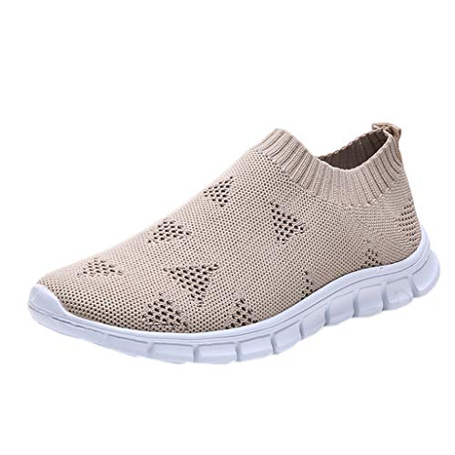 (WENSY Weaving Single Shoes Casual Women's Outdoor Woven Mesh Lace-Up Sneakers Running Breathable Soft Bottom Sandals(Khaki,41))