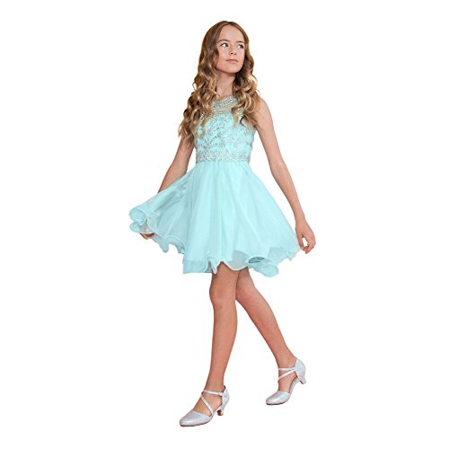 Calla Collection Big Girls Aqua Jewel Short Special Occasion Tween Dress 8 by Calla Collection USA