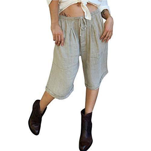 XUEJIN Womens Casual Loose Plus Size Wide Leg Pants - Women Leisure Elastic Waist Cropped Pants Trousers Beige