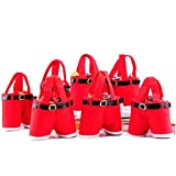 MSQ 10pcs Bags Candy Bags Santa Pants Style Lovely Treat Bags for Children Lover Best for Wedding Holiday New Year Holiday Christmas Decorations