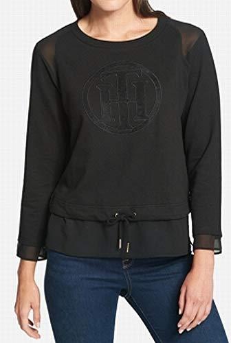 s Sheer Trim Monogram Sweatshirt Black XL ()