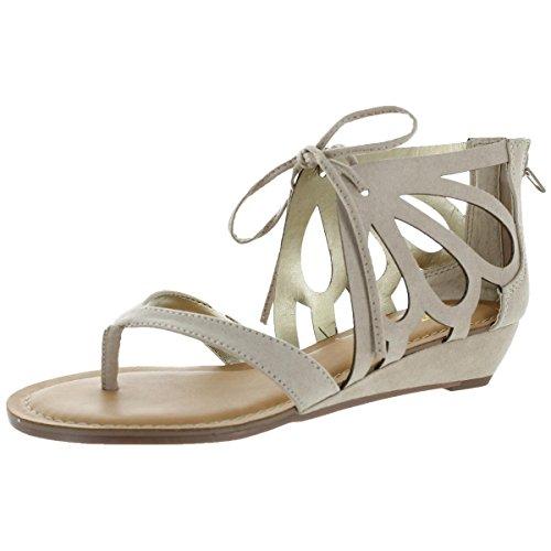 Carlos by Carlos Santana Katarina Womens Beige Faux Suede Wedge Sandal Size 5.5 ()