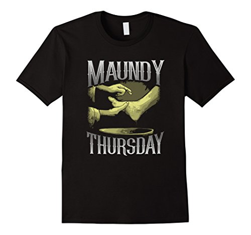 Men's Holy Week Tees: Maundy Thursday Foot Washing T-Shirt Medium Black