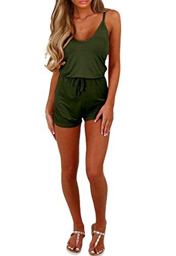 Women V Neck Spaghetti Strap Crop Top Drawstring Shorts Bodycon Clubwear Jumpsuit Rompers