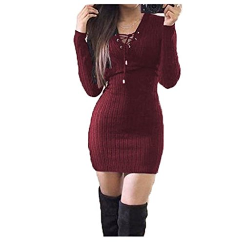 Anxinke Women Solid Long Sleeve Lace up V Neck Casual Bodycon Sweaters Mini Dress (Wine Red, S)