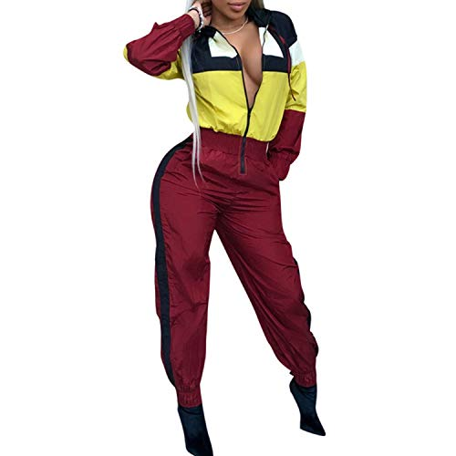 1 Piece Outfits Tracksuits Long Sleeve Hoodies Strip Jumpsuit Sweatsuit Yellow -