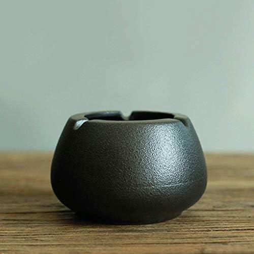 SRX 灰皿セラミック灰皿ブラック陶器レトロクリエイティブホーム灰皿シガーパイプ灰皿(カラー:ブラック、サイズ:F)