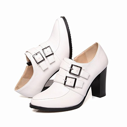 Carolbar Kvinna Multi Spänne Zip Mode Chunky Hög Klack Boots Vita