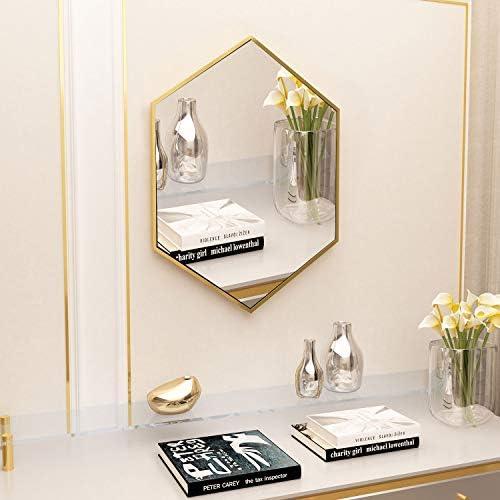 Womio Modern Wall Mirror 19.7 x 19.7 Hexagon Bathroom Frame Mirrors,Wall-Mounted Dresser Home Decor,Gold