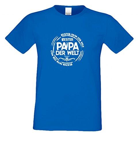 T-Shirt als Geschenk für den Vater - Bester Papa der Welt - Ein Danke für den Papa mit Humor zum Vatertag oder einfach so, Größe XXL Farbe 06-Royalblau