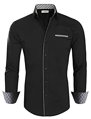 Tom's Ware Mens Casual Inner Layered Long Sleeve Dress Shirt