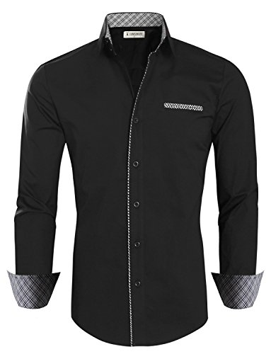 Tom's Ware Mens Premium Casual Inner Contrast Dress Shirt TWNMS310-1-BLACKN-L by Tom's Ware
