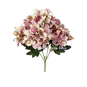 Sweet Home Deco 12'' Silk Hydrangea Artificial Flower Small Bush Set of 2 for Home/Wedding Decoration (6 Stems/6 Flower Heads) (Pink) 89