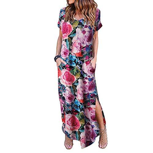 [해외]Women DressesWomen`s Short Sleeve V Neck Pocket Casual Side Split Beach Long Maxi Dress Plus Size Yamally / Women Dresses,Women`s Casual Loose Pocket Long Dress Summer Beach Floral T Shirt Dresses Plus Size Yamally Hot Pink