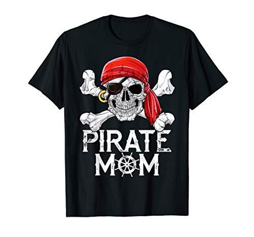 Pirate Mom T shirt Jolly Roger Skull & Crossbones Flag Tees - Pirate Skull T-shirt
