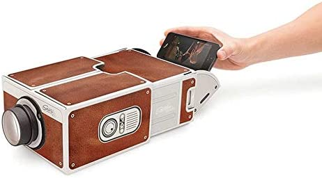 Mini Portable Cardboard Smart Phone Projector 2.0 Mobile Phone Projection for Home Theater Audio /& Video Projector Brown