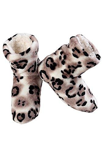 Pantofola Stampata Da Donna Iconoflash Con Fodera In Faux Shearling Taupe Jaguar