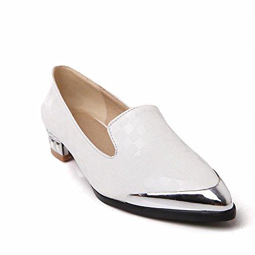 Carol Chaussures Mode Femmes À Embout Dacier Sexy À Carreaux Motif À Talons Bas Mocassins Chaussures Blanc
