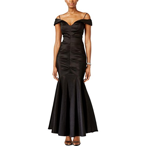 Xscape Womens Off-The-Shoulder Ruched Formal Dress Black 10P