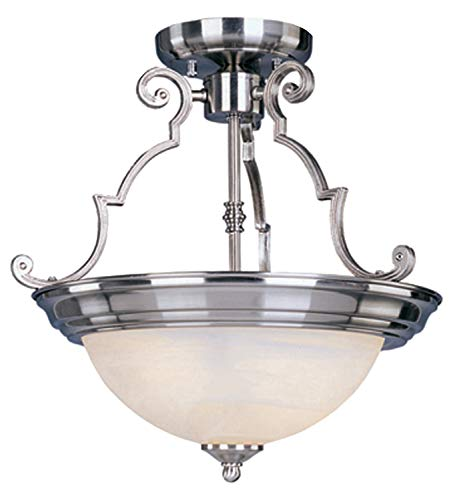 Marble Semi Flush - Three Light Satin Nickel Marble Glass Bowl Semi-Flush Mount