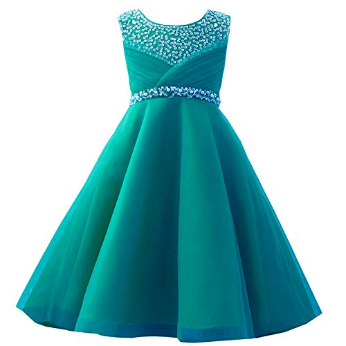 Flower Girl Dresses Teal (Castle Fairy Girls' First Communion Organza Sequin Pearls Flower Girl Dress with Train (6,)