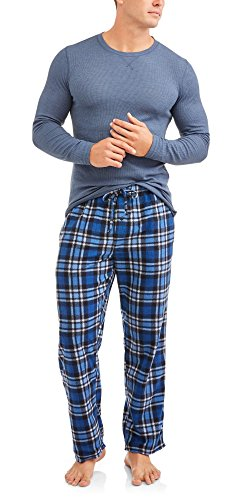 Hanes Mens Adult Xtemp Long Sleeve Crew Shirt & Fleece Plaid Pant Pajamas PJ Set - Blue Heather,Blue (Mens Microfleece Long Sleeve)