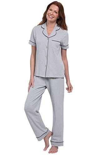 (PajamaGram Pajamas for Women Soft - Womens Pajamas Cotton Jersey, Gray, L, 12-14)