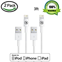 lightning Cable, Doolike® 3ft White 8 Pin Lightning USB Sync and Charging Cable Compatible with iPhone 5, 6, iPad Air 1/2, iPad Mini 1/2/3, iPad 4 and iPod - 2 Pack