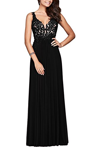 Black Beaded Silk Dress (MARSEN Chiffon Beaded Formal Dresses Long V Neck Applique Backless Pleated Prom Gowns Black Size 6)
