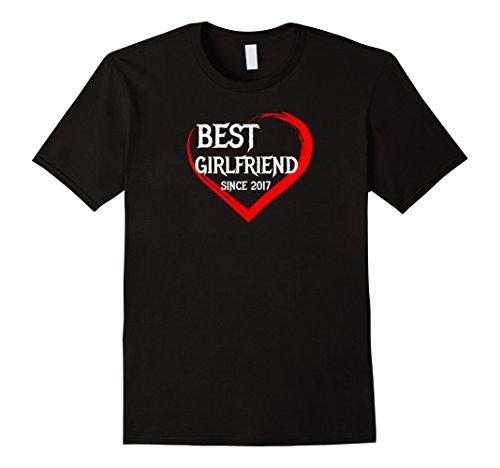 Mens Best Girlfriend Since 2017 1st Year Anniversary Gift T-shirt XL Black