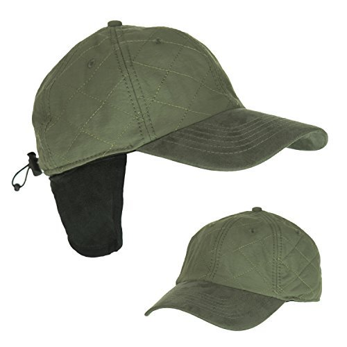 Olive Cold Weather Ball Cap with Earflap, 50 UPF-UV Sun Protection, Waterproof ()